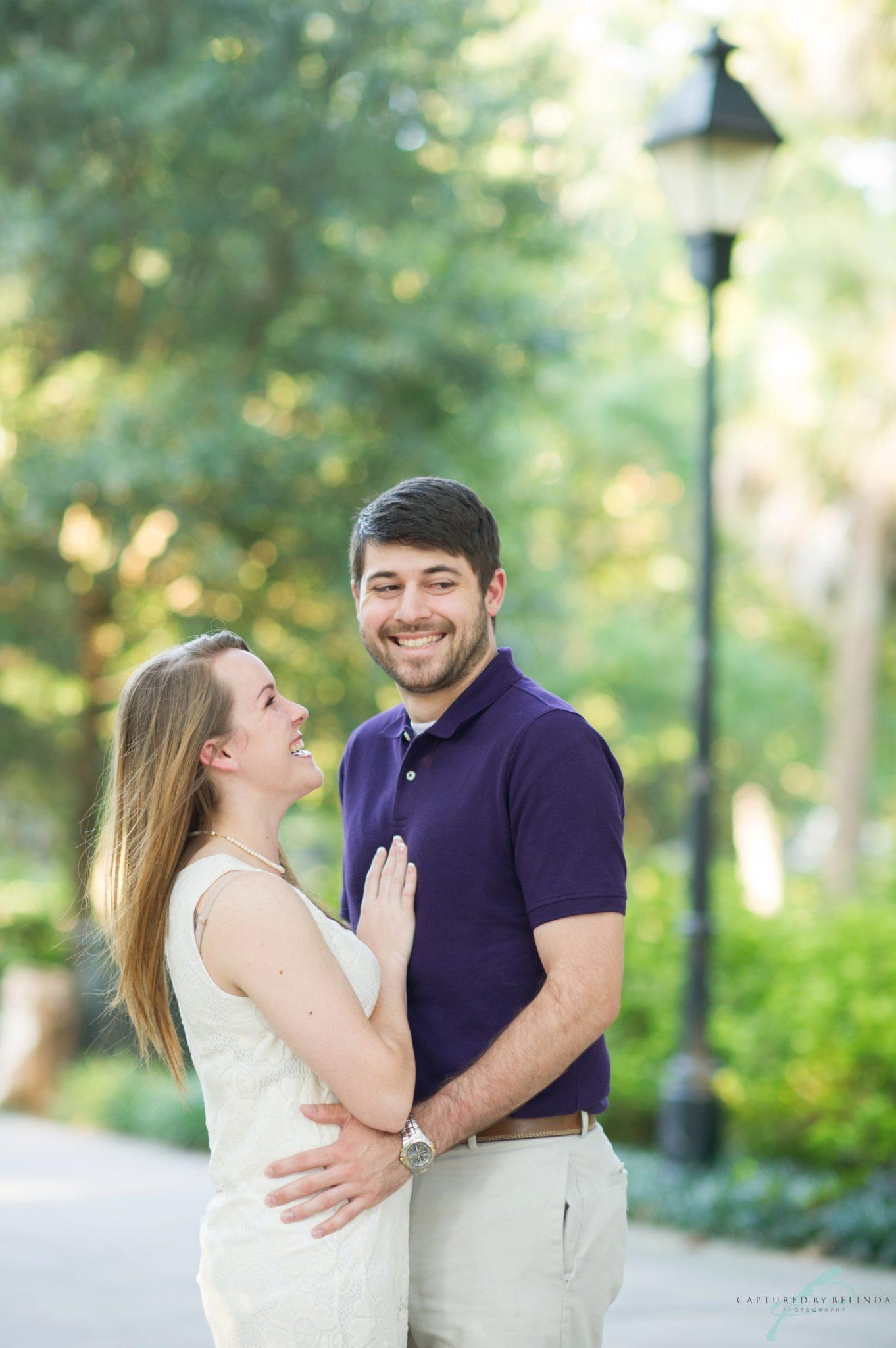 Forsyth park savannah engagement couple