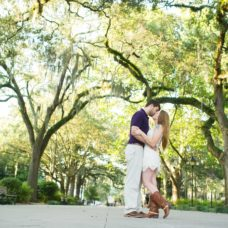 Forsyth Park engagement photography kissing